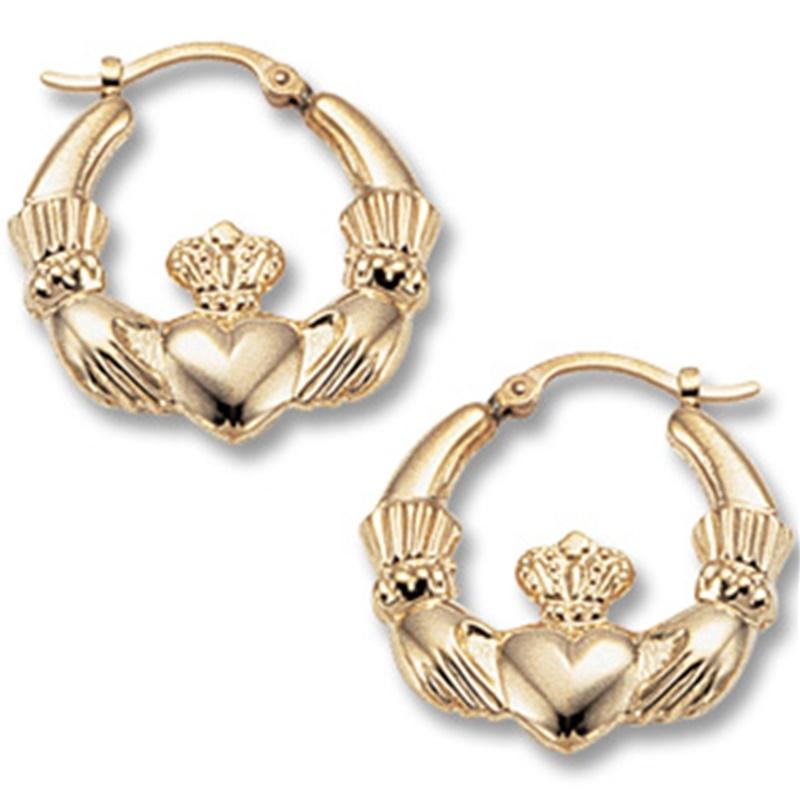 Fabulous Earrings In Yellow And White Gold 14k Gold Irish Claddagh Hoop Earrings