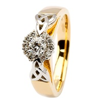 Image for Diamond Cluster Engagement Trinity Ring - 14K Yellow Gold