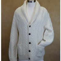 Image for Hand Knit Irish Rolled V-Neck Wool Cardigan Sweater Size 50