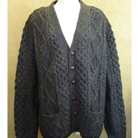 Image for Hand Knitted Irish V-Neck Cardigan Sweater - Natural Black