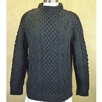 Hand Knitted Irish Crew Neck Pullover Sweater Black