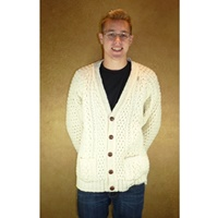 Image for Hand Knit V-Neck Irish Cardigan Sweater by Athena Designs Size 52