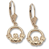Image for 14K Yellow Gold Claddagh Leverback Earrings