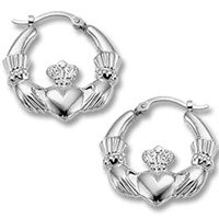 Image for Sterling Silver Medium Claddagh Earrings