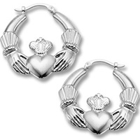 Image for Sterling Silver Large Claddagh Earrings
