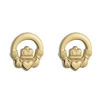 Image for 14K Gold Plated Claddagh Post Earring
