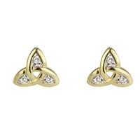 14K Trinity Knot Diamond Stud Earrings