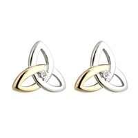 Image for Silver and Gold Diamond Trinity Knot Post Earrings