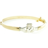 Image for Gold and Sterling Silver Claddagh Bangle