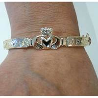 Image for Rolled Gold and Silver Embossed Claddagh Bangle