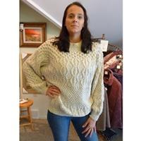 Image for Hand Knit Linen Cotton Irish Creative Crew, Oat