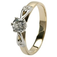 Image for 14kt Yellow & White Gold Claddagh .33ct Diamond Ring