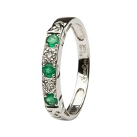I Love You Eternity Ring, White Gold Emerald and Diamond Set