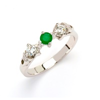 Image for 14k White Gold Diamond and Emerald Trinity Knot Ring