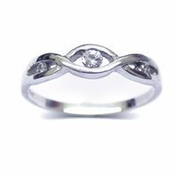 Image for 14K White Gold Infinity Diamond Set Ring