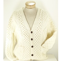 Image for Hand Knitted Irish Celtic Honeycomb Wool Cardigan Sweater