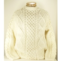 Image for Hand Knitted Irish Celtic Honeycomb and Diamond Wool Pull Over Sweater