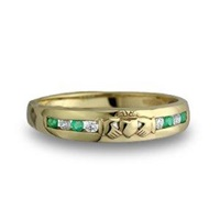 14K Claddagh Eternity Ring with Diamonds and Emeralds