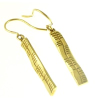 Image for Yellow Gold Ogham Slainte Earrings
