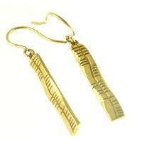 Image for Yellow Gold Ogham Slainte Earrings
