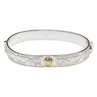 Image for Celtic Warrior Design Bangle Bracelet Sterling Silver 18K Gold