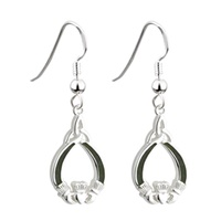 Image for Sterling Silver and Connemara Marble Claddagh Drop Earrings