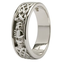 Image for 14kt Claddagh Wedding Ring with Celtic Knotwork