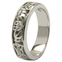 Claddagh Wedding Ring Diamonds Set with Celtic Knotwork