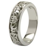 Claddagh Wedding Ring Diamonds Set with Celtic Knotwork