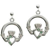 Image for 14K White Gold Claddagh Drop Earrings Set with Emerald and Diamond