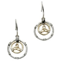 Image for 14K White Gold Diamond Set Celtic Circle With Trinity Knot Earrings