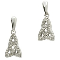 Image for 14K White Gold Diamond Set Trinity Knot Earrings