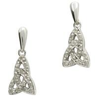 Image for 14K White Gold Diamond Set Trinity Knot Earrings