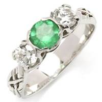 Image for 18k White Gold Livia Triology Ring With an Emerald and Two Diamonds