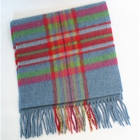 Image for Lambswool Scarf - Denim Blue, Red, Deep Pink And Lime Green