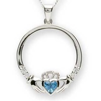 Image for Silver Claddagh Birthstone Pendants - Pick Your Month