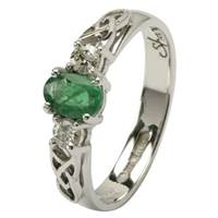 Image for Celtic Engagement Ring - Trinity knot design with an oval Emerald and 2 Brilliant cut Diamonds