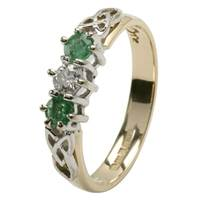 Image for Celtic Engagement Ring - 3 stone Emerald and Diamond with Trinity Knot Design