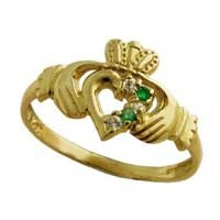 Image for Emerald And Diamond Ladies Claddagh ring