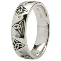 Image for 14K White Gold Trinity Wedding Ring Diamond