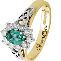 Image for 14K Yellow Gold Emerald And Diamond Cluster With Trinity Knot Design