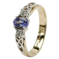 Image for Celtic Engagement Ring - Trinity knot design with an oval Tanzanite and 2 Brilliant cut Diamonds