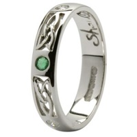 Image for 14K White Gold Ladies Emerald and Diamonds Set Trinity Knot Wedding Ring