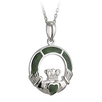Image for Sterling Silver Claddagh Pendant with Connemara Marble