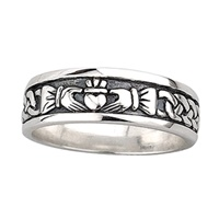 Image for Sterling Silver Ladies Oxidised Claddagh Band