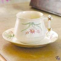 Image for Belleek China Finner Teacup Saucer Set