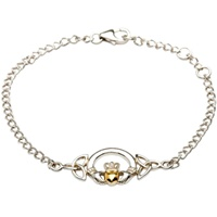 Image for Sterling Silver Claddagh Bracelet with 14K Gold Plate Heart