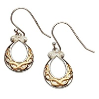 Image for Sterling Silver Celtic Torc Earrings Two-Toned