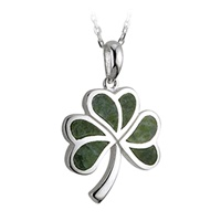 Image for Sterling Silver and Connemara Marble Shamrock Pendant