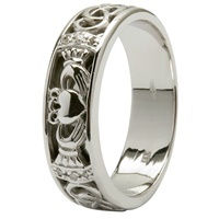 Image for 14kt White Gold Claddagh Wedding Ring with Diamonds